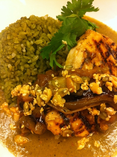 Poss new Frontera Dish:grld swordfish,tomamole (tomatillo,sesame,pineapple), green rice,pineapple-chiles toreados