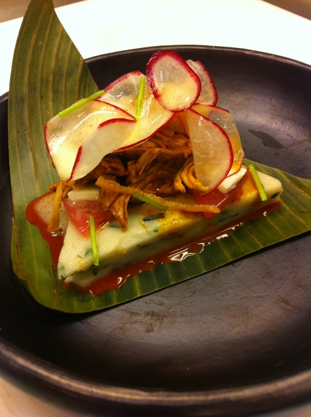 Yuc Menu #2: tamale colado (garlic chives, epazote), clay-baked turkey pibil, pkld red onion&amp;crema gelatinas