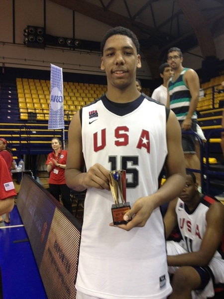 #UofL target Jahlil Okafor. @usabasketball: Tourney MVP @jahprobound congrats! 