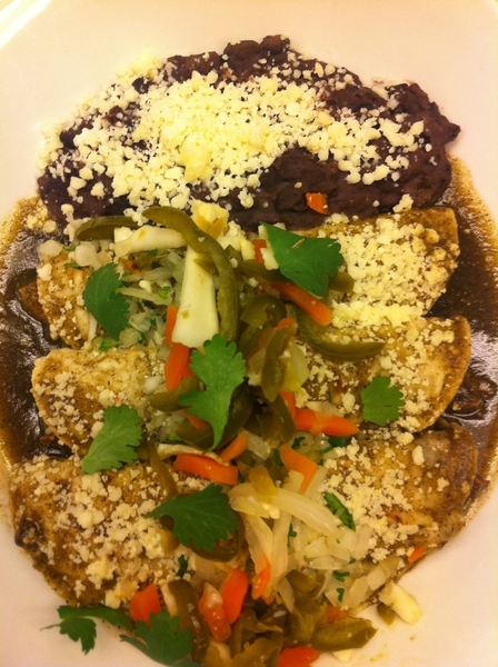 Poss new Frontera dish: pork carnitas enchiladas w rstd tomatillo sauce, spicy pickled veg, bl beans