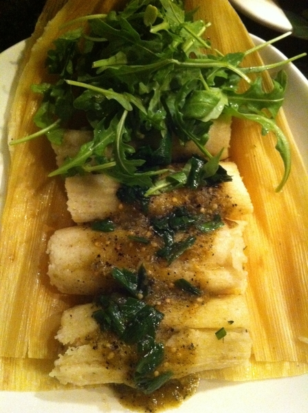 New Frontera Menu 2nite: highlight#1:tamales of homemade ricotta &amp; hoja santa. Salsa verde. 