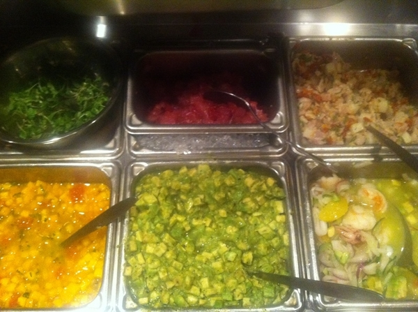 Frontera/Topolo ceviche station beautiful mise en place ready for service