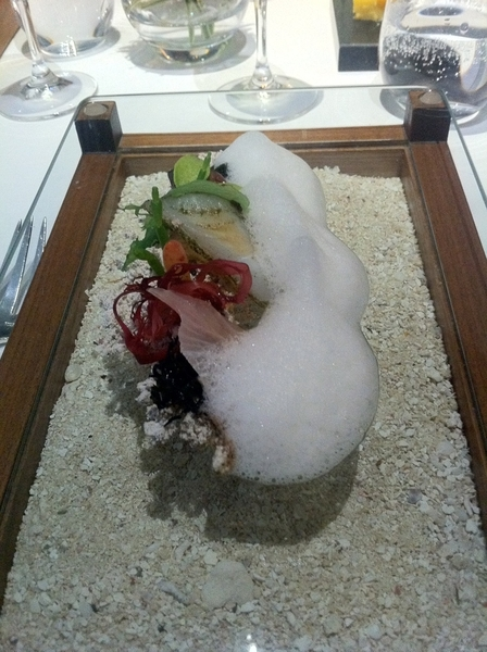 Fat Duck Standout: flvrs of sea: sashimi, seaweed, tapioca foam, TK;served over sand while listening to sea sounds
