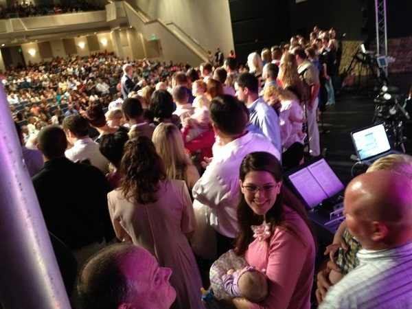 Baby dedication this morning. 36 babies! Crowded stage!