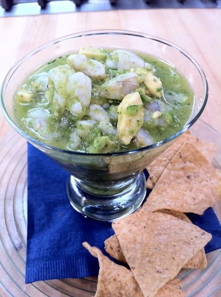 &quot;Mexico--One Plate&quot; shoot day 3: ceviche verde: shrimp, tomatillo, lime, cilantro, habanero, chives, avocado.