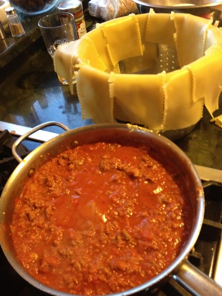 From the field via @rtmfd & wife Stacey's hunting successes to table: venison lasagna makings! Turkey soup, you'll wait